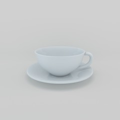 Empty Coffee cup. Isolated on grey background. 3D rendering illu