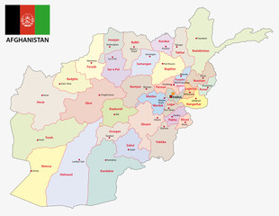 Afghanistan administrative and political map with flag