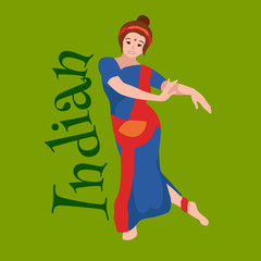 Vector illustration of woman performing Kathak classical dance  Northern India. Indian traditional young dancing in sari