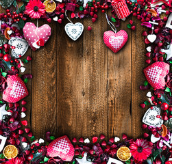 Valentine's Day Background with love themed elements like cotton and paper hearts