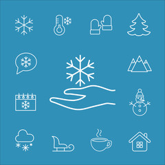 snowflake in the hand vector line icons set