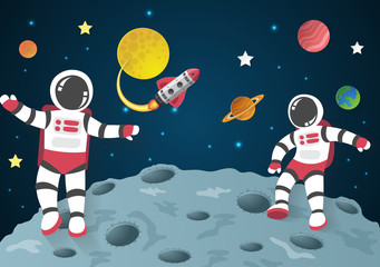 Astronaut cartoon on the moon with a spaceship in space,paper cu