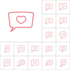 thin line love heart, speech bubble icon on white background, di