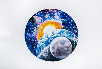Sketch planet earth and sun on a white background.