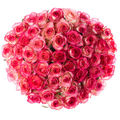 bouquet of pink roses, top view round