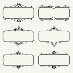 Set of calligraphic frames vector illustration