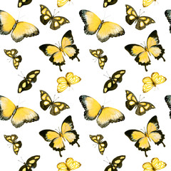 Yellow butterflies. Seamless pattern. Watercolor