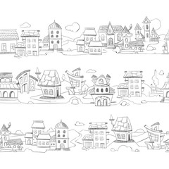 Cityscape with hand drawn doodle houses vector illustration