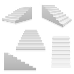 White stairs, 3d interior staircases isolated. Vector steps collection