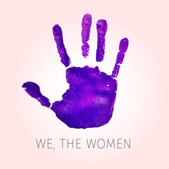 violet handprint and text we the women