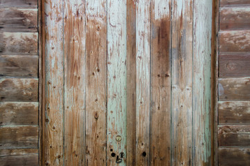 Old timber door and wall panels