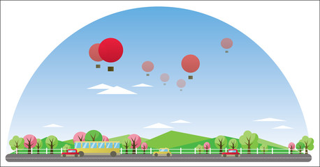 Digital vector abstract background with village, road and cars, red balloons, green and pink trees, flat triangle cartoon style
