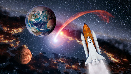 Space shuttle spaceship Earth launch spacecraft planet Mars rocket mission universe. Elements of this image furnished by NASA.