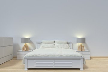 The interior has a White sofa and lamp on empty white wall background,3D rendering