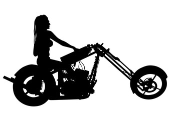Wall Mural - Motorcycl and baeuty women on white background