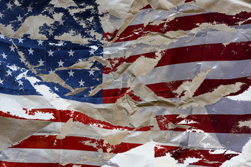 Crumpled paper with American flag, concept idea
