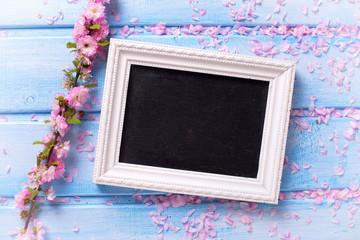 Pink sakura  flowers  and empty  blackboard on blue wooden backg