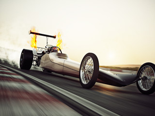 Dragster racing down the track with burnout. 3d rendering with room for text or copy space
