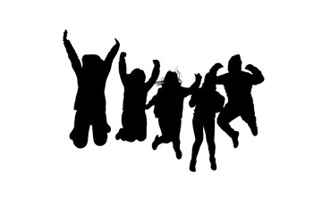 Group of People Jumping Silhouettes