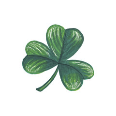 St Patrick's Day Illustration Leaf Hand-Painted Green Shamrock