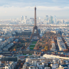 above view of Eiffel Tower and La Defence district