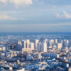 above view of residential district in Paris city