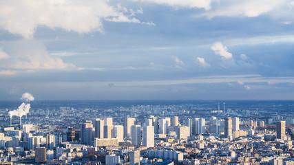 panorama of modern Paris city in winter