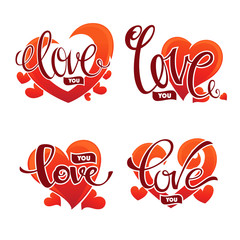 Love you emblem, vector lettering element for Saint Valentine co