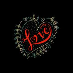 Romantic love lettering. love in a heart.