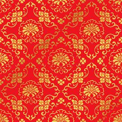 Seamless Golden Chinese Background Botanic Cross Spiral Flower Vine