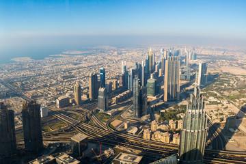 Amazing aerial view of Dubai from Burj Khalifa building. Great w
