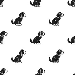 Sitting dog vector icon in black style for web
