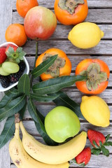 Fruits on the table - organic healthy food