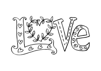 Doodle inscription Love