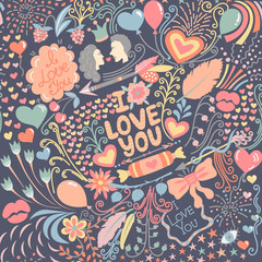 Seamless pattern with hand drawn love elements. Colorful greeting background on Valentine's Day. Holiday. It can be used for wallpaper, textiles, wrapping, card. Vector illustration, eps10