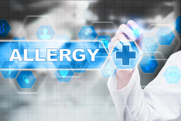 Medical doctor drawing allergy on the virtual screen.