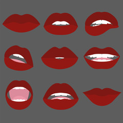 Woman red lips.