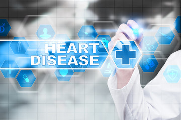 Medical doctor drawing heart disease on the virtual screen.