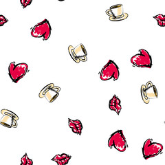 Set of valentine icons. Vector seamless pattern
