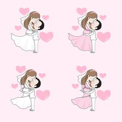 Wedding cartoon vector, bride and groom hug and look at each others