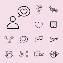 love confession line icons set