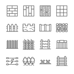 Wall and fence icons