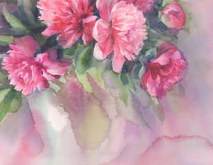 bouquet of pink peonies watercolor