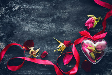 Valentine's Day composition with dried roses
