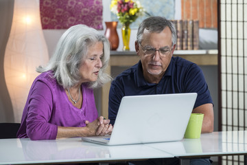 A senior aged couple video chatting on their computer