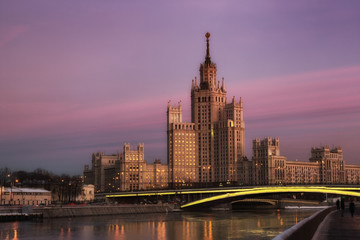 High-rise building on Kotelnicheskaya embankment in Moscow on sunset, Russia