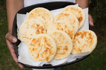 traditional colombian arepas - regional food in a try