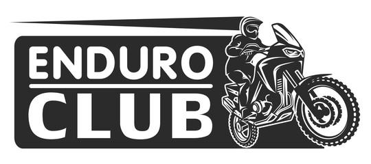 Motocross race enduro extreme motorcycle driver logo monochrome illustration