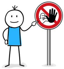 Figur zeigt auf Schild Achtung Halt Stopp