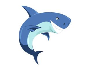 Flat Cute Animal Character Logo - Shark